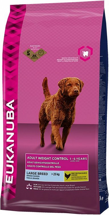 Сухой корм Eukanuba Adult Weight Control для собак крупных пород, склонных к набору веса